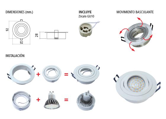 Spot de embutir blanco de aluminio z calo gu10 for Tipos de zocalos