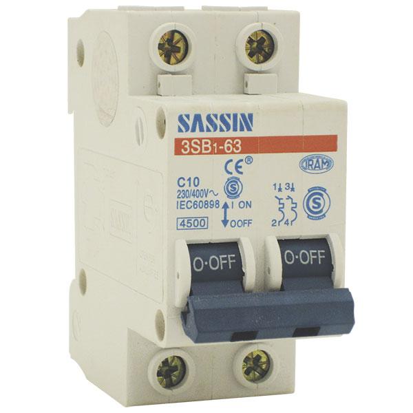 Interruptor autom/ático 2 Polos Curva C 6KA 10A sassin Electric